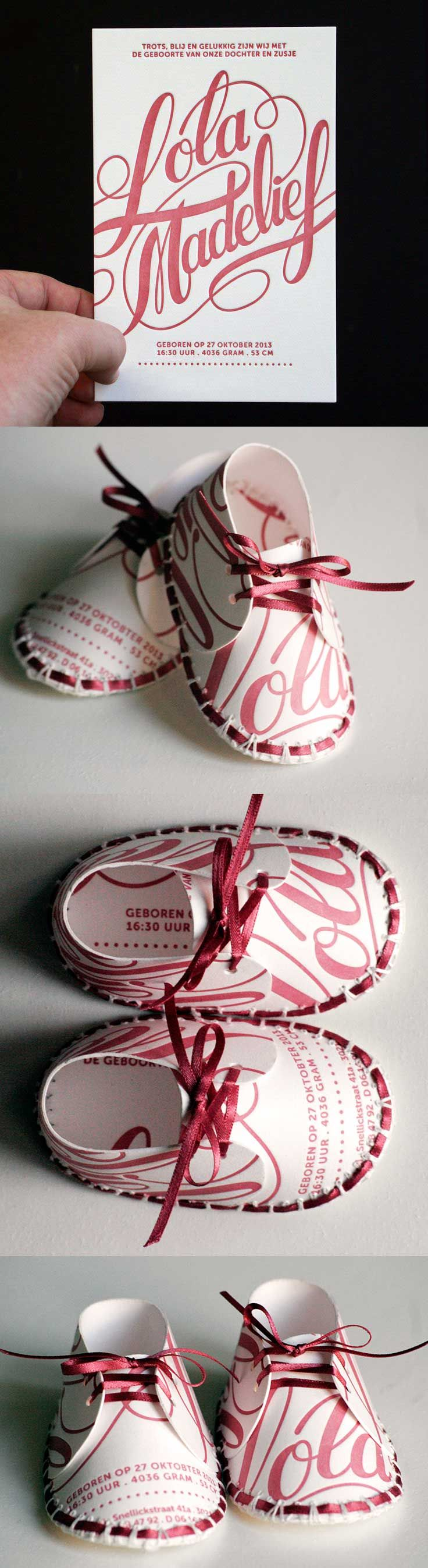 Cute shoes made of Lola's birth announcement card.