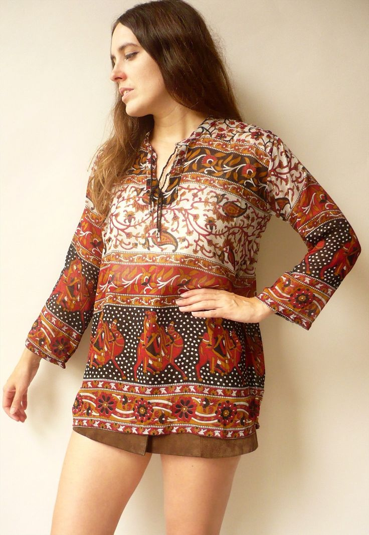 Vintage Indian Camel & Paisley Print Cotton Gauze Smock Top