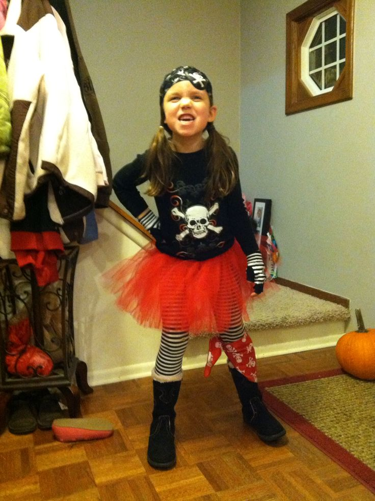 """""""Argh!""""  Easy DIY tutu pirate costume my little girl wore last year (age 6)- cutest pirate girl ever!"""