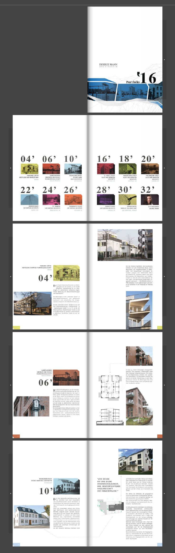 Desiree Mann's architecture portfolio is a job well done. Layouts look professional and stylish.