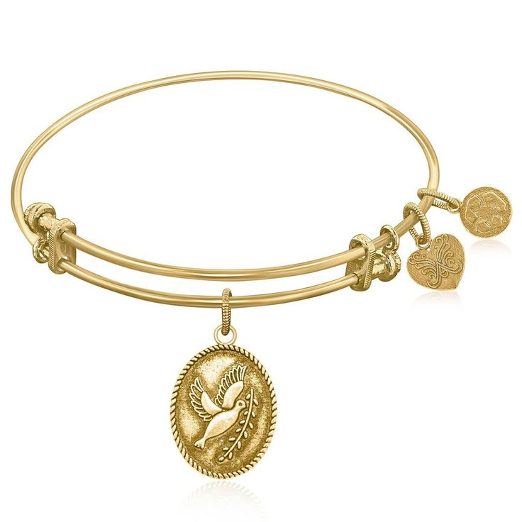 An expandable bangle in yellow tone brass. A Since the time of the new testament, the dove and olive branch has been a symbol of peace.Specification Bangles Fin
