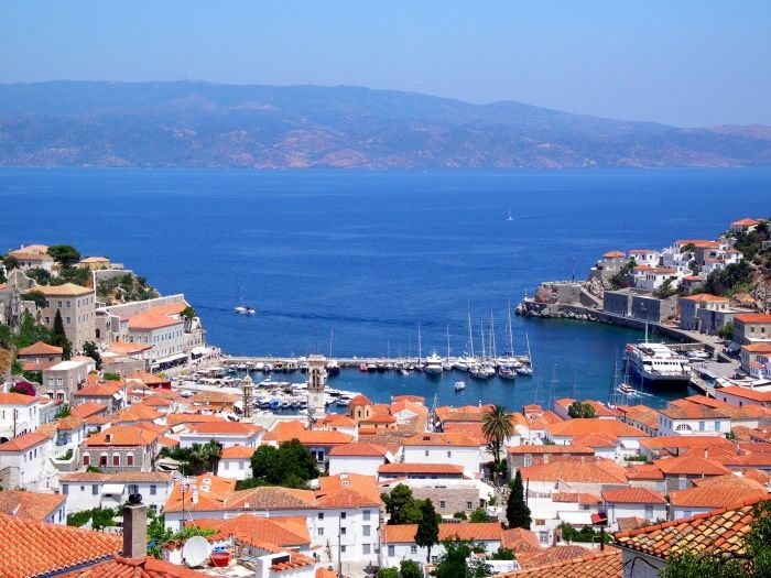 Panoramic view of Hydra town