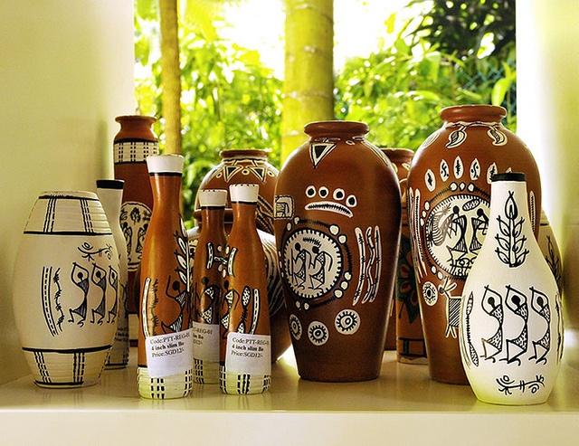 Handmade pots with WARLI designs