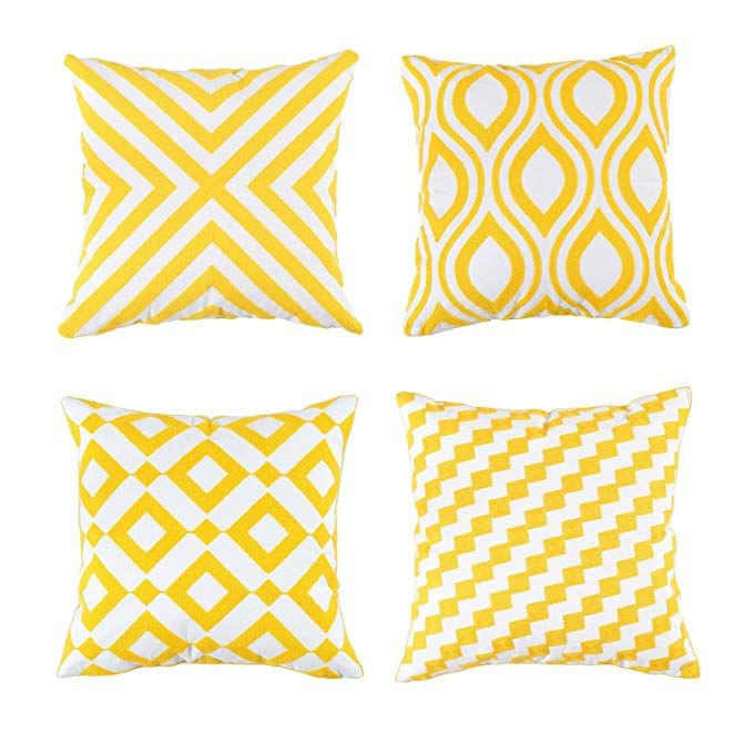 Soamay Set Of 4 Embroidered Throw Pillow Covers With Non Printing