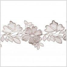 """5""""+3D+Metallic+Silver+Floral+Lace+Trim"""