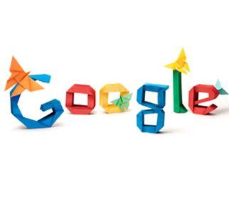 2012年3月14日のGoogleのロゴ。日本の折り紙作家吉澤章さん生誕101週年記念のために折り紙で出来ている。
