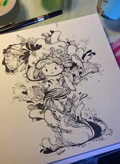 KARPORTEN  Karina Posborg - ink - dragons - creatures - character design - monster - bloob - woobly - artwork -