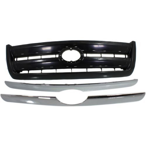 2003-2006 Toyota Tundra Grille, Painted-Black W/ Chrome Molding
