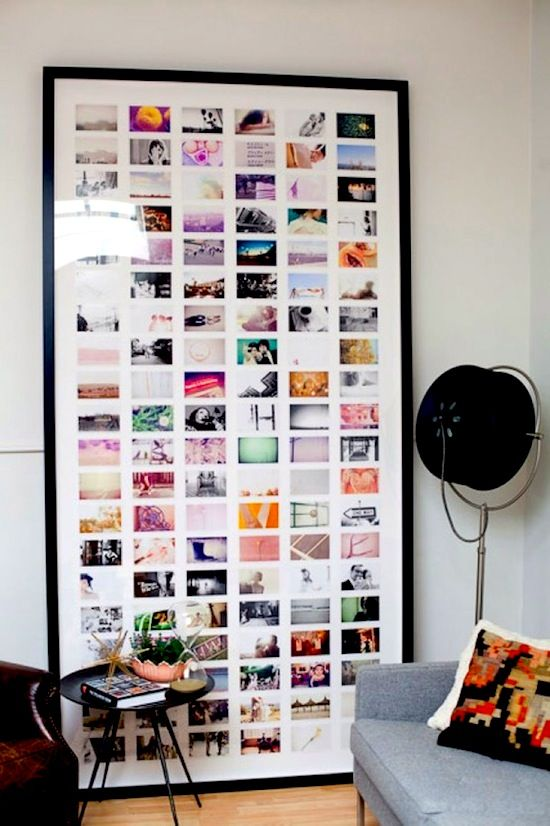 I adore this example because it's so dramatic and makes such a statement – and yet it's not overwhelming or too in your face. If you must stick to you 4×6 prints – then this is the way to display them that's for sure.