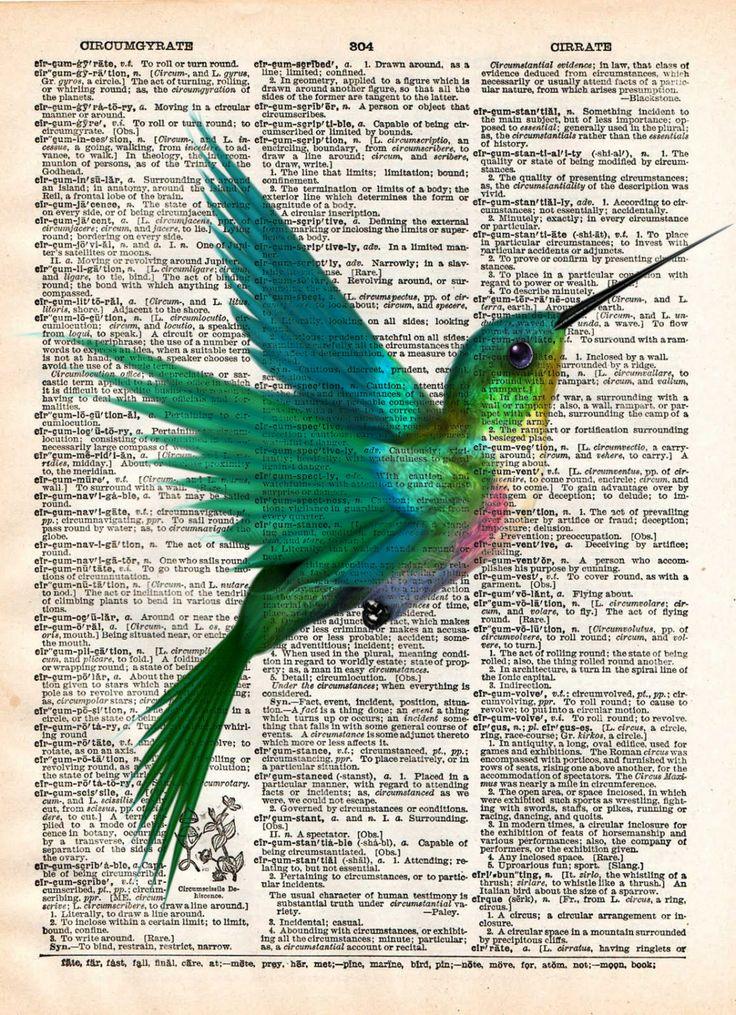 Hummingbird art print, bird art, childrens art, vintage dictionary print