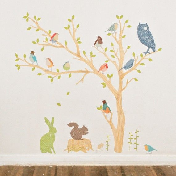 Mini tessuto Wall Decal foresta Critters terroso di LoveMaeStore