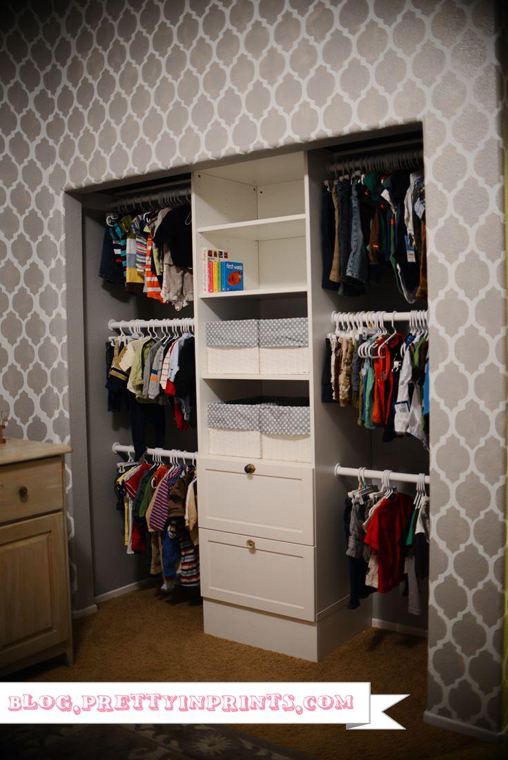 Nursery closet organization using Ikea STUVA storage system & patterned walls