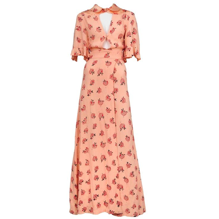 Ossie Clark Strawberry Print Gown  | From a collection of rare vintage day dresses at https://www.1stdibs.com/fashion/clothing/day-dresses/