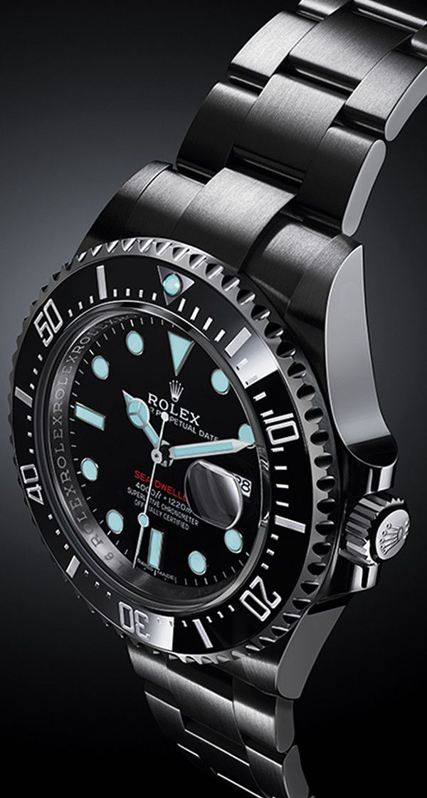 The blue luminescence of the Rolex Sea-Dweller's Chromalight display.