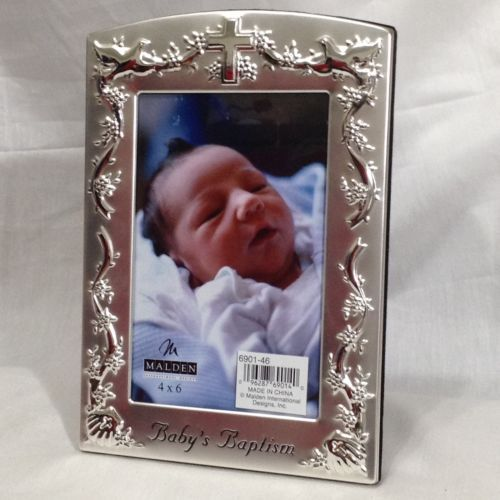 Malden-Baby-Baptism-Silver-Cross-Doves-4x6-Picture-Photo-Frame-New