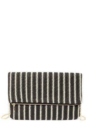 Band Together Ivory and Black Striped Clutch  | @LuLu*s