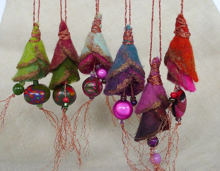 deco Noel boho gypsy chic felt christmas tree decorations