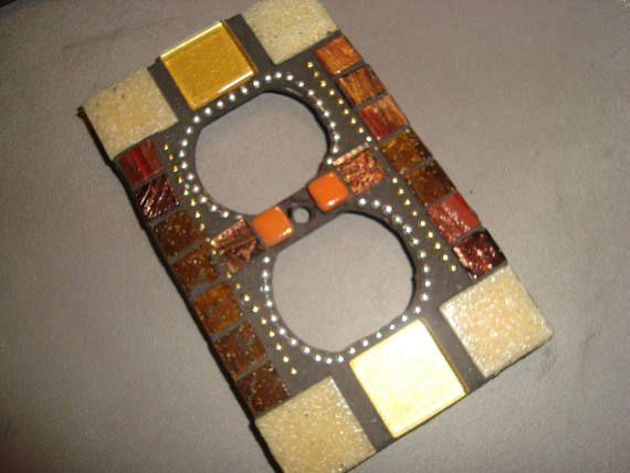 MOSAIC Electrical Outlet COVER  Wall Plate Wall Art Earth