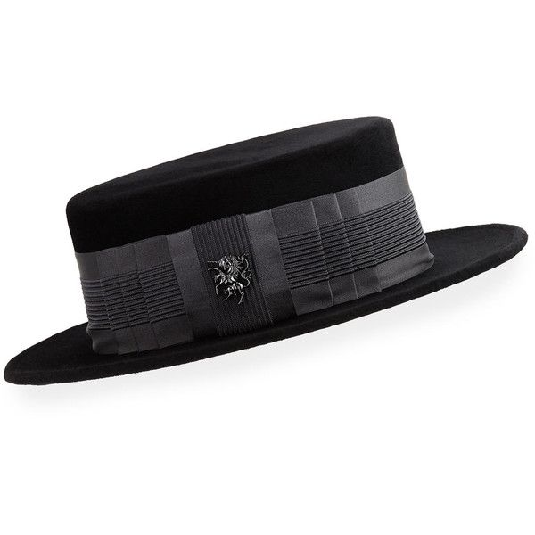 Philip Treacy Velour Boater Hat w/ Ribbed Band Unicorn Pin (135.435 RUB) ❤ liked on Polyvore featuring accessories, hats, unicorn hat, velour hat, philip treacy, philip treacy hats and boater hat