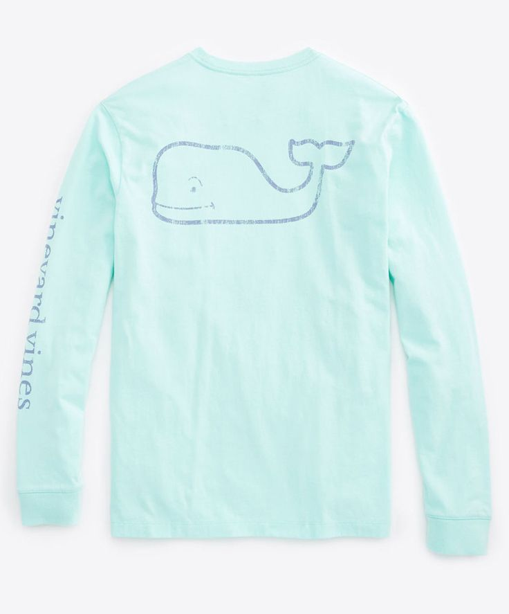 Vineyard Vines - L/S Vintage Whale Graphic Pocket T-Shirt - Color : Wintermint, Size : Medium
