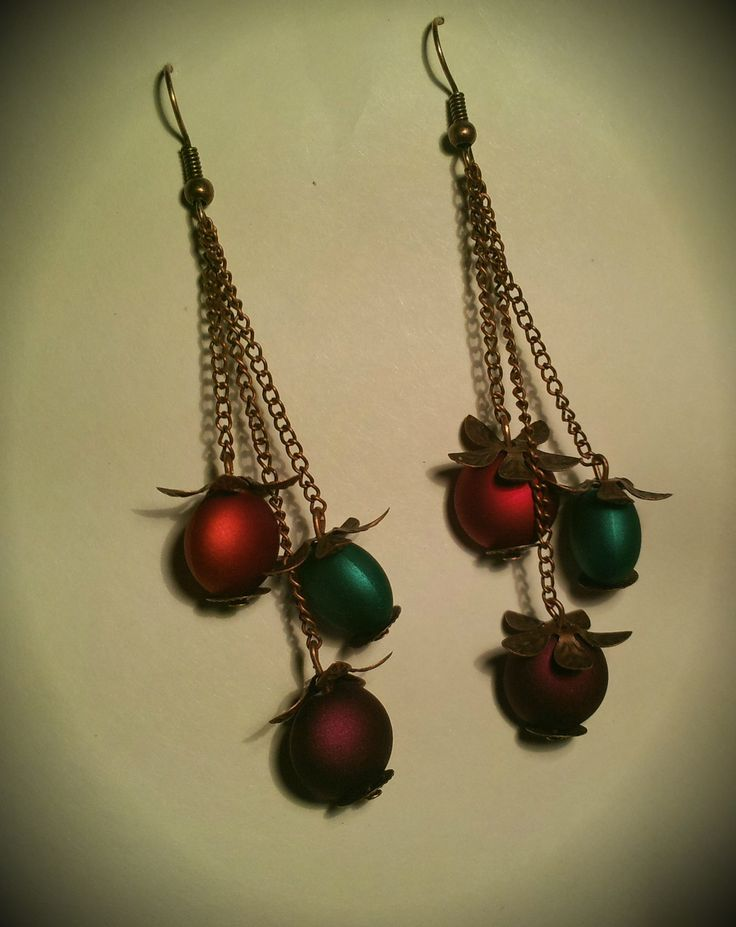 Earings with matt beads and copper leaves