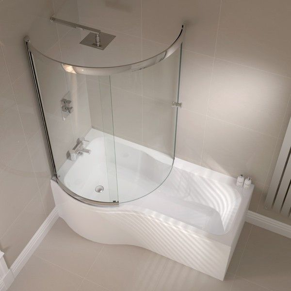 April P Shape Shower Bath with Front Panel and Enclosed Bath Screen 1700 x 700mm | cloud9 Bathrooms