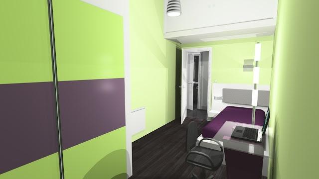 Chambre enfant adolescent vert et violet