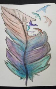 Tekening Aquarelpotloden Veer met vogels