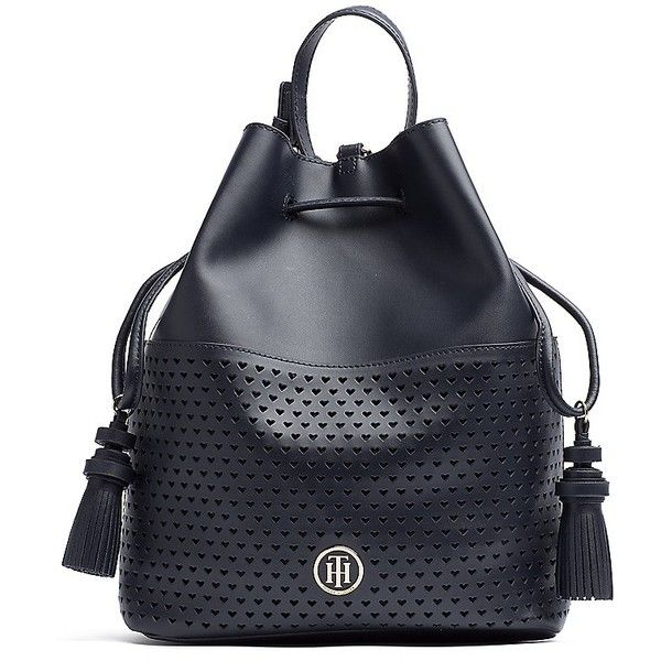 Tommy Hilfiger Hearts Leather Bucket Bag ($165) ❤ liked on Polyvore featuring bags, handbags, shoulder bags, leather purses, genuine leather handbags, tommy hilfiger shoulder bag, hand bags and leather handbags