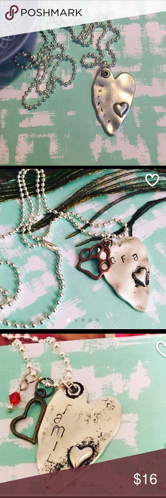 Personalized Hand Stamped Virtue Necklaces Handmade silver heart ❤️ stainless necklace Made to order... what is your fight song.. Jade can make your own personalized saying... just send me a message... these are wonderful gifts for birthdays, Mother's and Father's Day, graduations, bridal showers, sororities, school teams and best friends!! The list is endless...the possibilities are endless! 5StonesDesigns Jewelry Necklaces