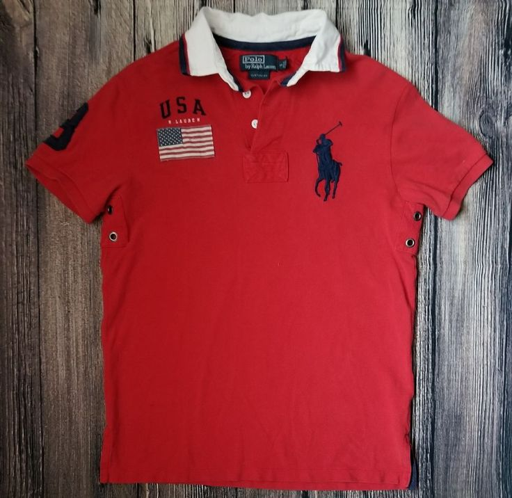 RARE RALPH LAUREN POLO MENS SHIRT AMERICAN FLAG #3 BIG PONY RED SMALL VENTED #RalphLauren #PoloRugby