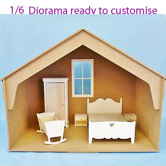 Wood Diorama 1/6 DIY for your playscale DOLLS : Blythe Pullip Monster High Barbie Fashion Royalty BJD dolls Roombox dollhouse