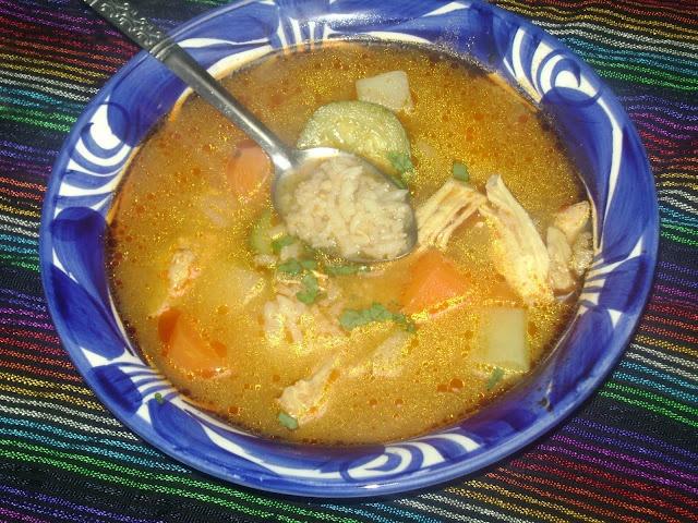 Arroz con Pollo Soup-Spicy chicken, rice, and veggie soup-El Pato sauce