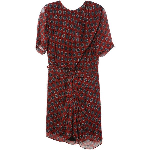 Isabel Marant Barden Chiffon Dress ($470) ❤ liked on Polyvore featuring dresses, red chiffon dress, isabel marant, isabel marant dress, red dress and chiffon dresses