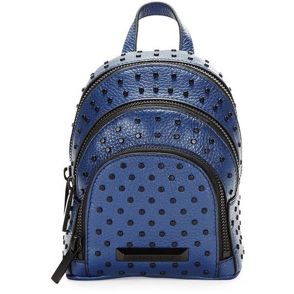 KENDALL + KYLIE Sloane Nano Studded Leather Backpack ($150) ❤ liked on Polyvore featuring bags, backpacks, navy blue, navy backpack, leather backpack, dot backpack, studded backpack and blue polka dot backpack
