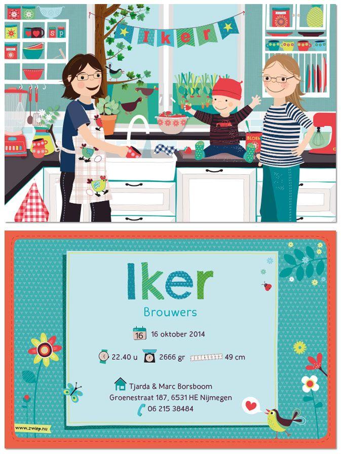 Geboortekaartje op maat gemaakt voor Iker, door Zwiep
