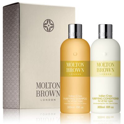 Molton Brown Indian Cress Purifying Haircare Set for cared for healthy looking hair.