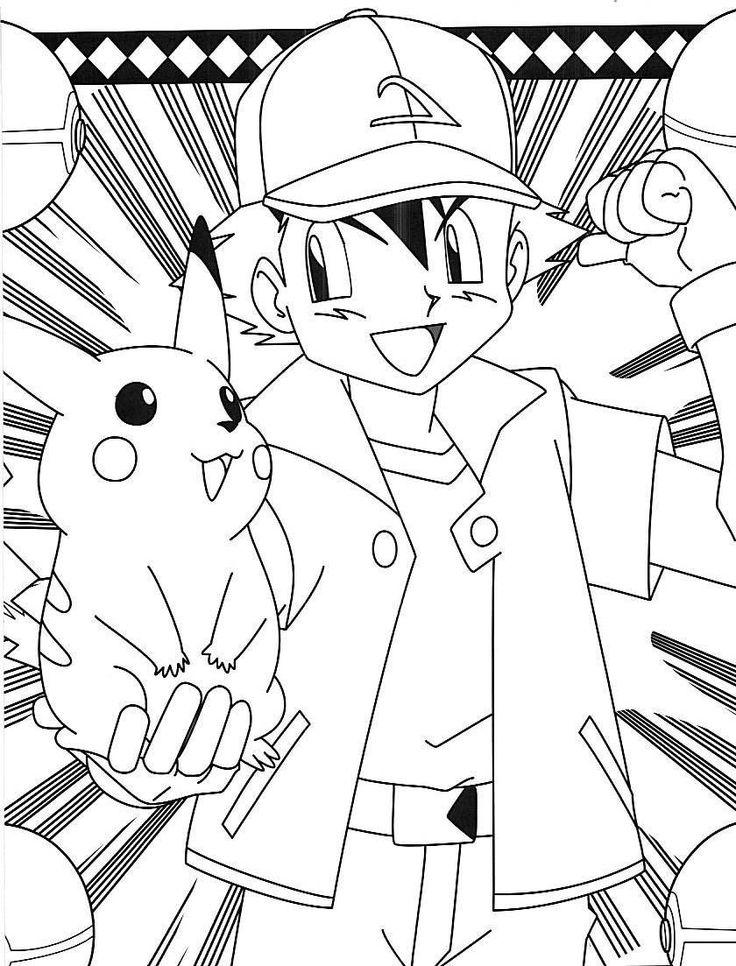 Pokemon ash pikachu coloring pages