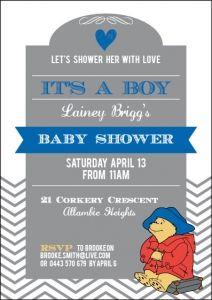 Paddington Bear Baby Shower Invitation