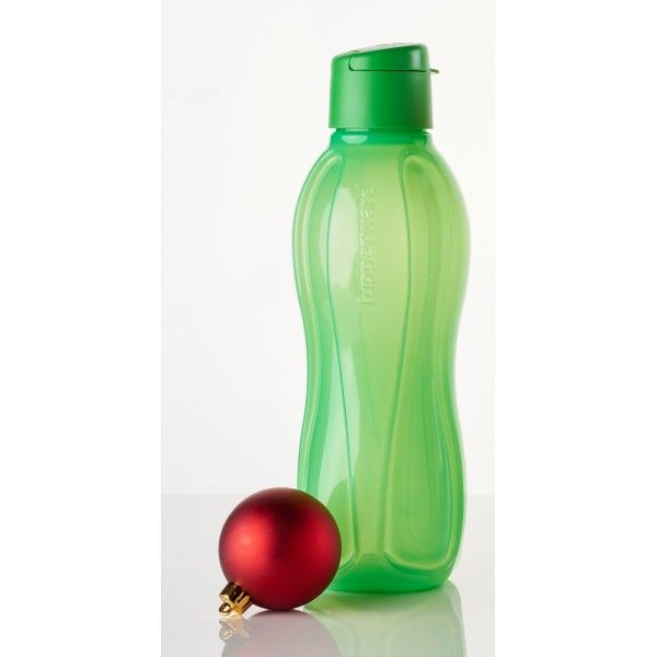 Tupperware Large Eco Water Bottle/Green:          Drinking just a little more water throughout your day can make a real impact on your health, and doing so with durable, reusable bottles make the planet feel better, too. And they also make great gifts.    36-oz./1 L bottle with flip-open, Easy Sipper cap. In Green Dishwasher safe.  Limited Lifetime Warranty.       Item:10126791000