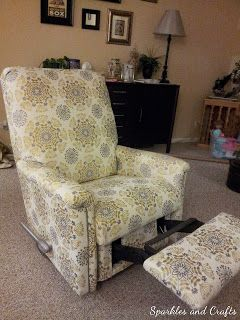 reupholster a recliner.  Use batting to modernize and cover tufting.