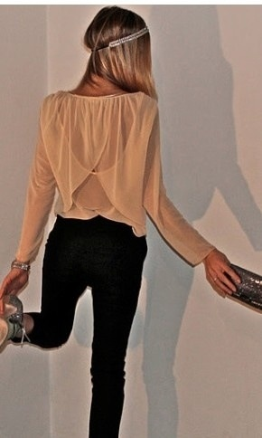 Cute nude top with black jeans