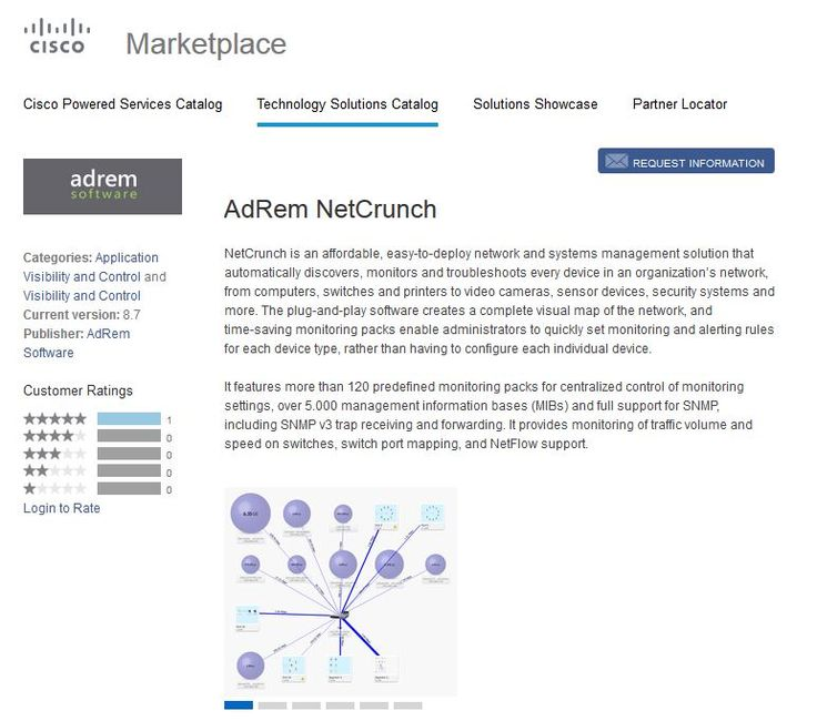 AdRem Software is proud to announce that we are now a Cisco Technology Partner after the release of NetCrunch 8.7. Our newest version contains an upgraded Flow Server module that has performance improved to handle up to 1 million flows per minute, as well as extended support for sFlow and Cisco NBAR technologies.