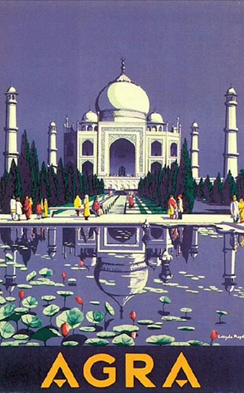 Vintage Travel Poster India - Agra, Taj Mahal