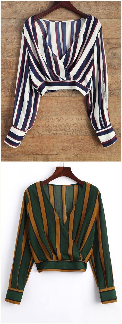 Up to 70% OFF! Striped Slit Sleeve Cropped Surplice Blouse. Zaful,zaful.com,tops,womens tops,,long sleeve tops,blouse,blouse outfit,blouses for women,top,outfits,blouses,tees,T-shirt,tank top,crop top,shirts,off shoulder blouses,off the shoulder tops. women fashion,winter outfits,winter fashion,fall outfits,fall fashion, halloween costumes,halloween,halloween outfits,halloween tops. @zafulbikini Extra 10% OFF Code:zafulbikini