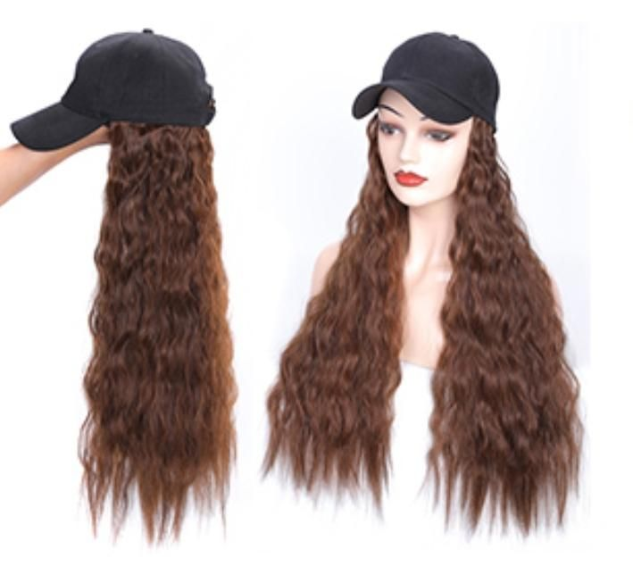 Natural Wavy Wig Hat Hair Pieces Wig Hat Synthetic Hair