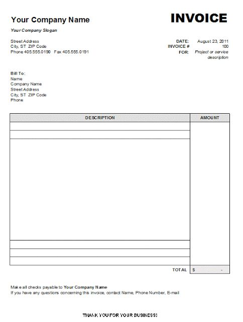 15 best Blank Invoice Template images on Pinterest Calculus