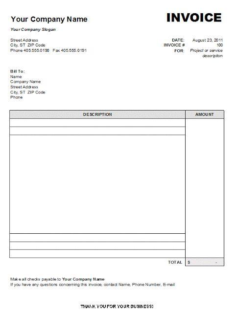Simple Printable Sale blank Invoice Templates