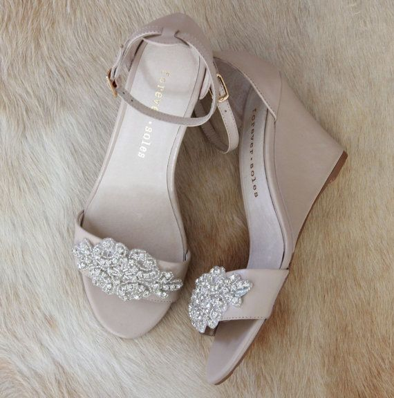 Ladies Diamond Embellished Nude Wedge Shoes. By ForeverSoles