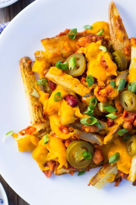Vegan Chili Cheese Fries.  These seriously taste so delicious without all the junk food ingredients!